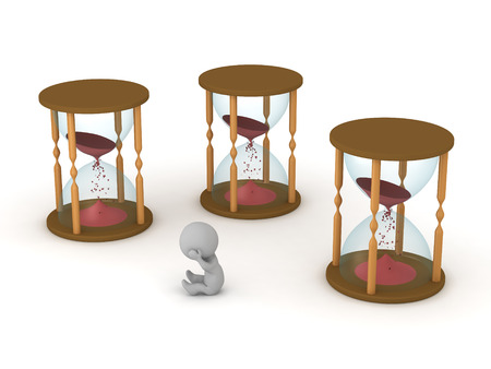 Stressed 3D character surrounded by hourglasses that are running out of time. Isolated on white background. Stock Photo