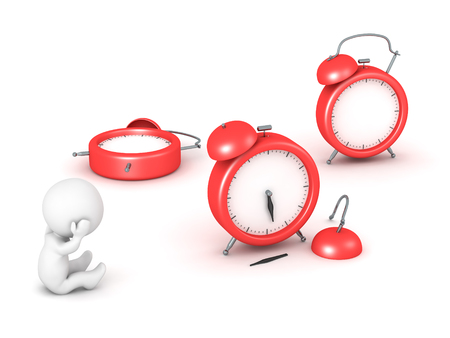 3D character is stressed next to some broken alarm clocks. Isolated on white background. Stock Photo