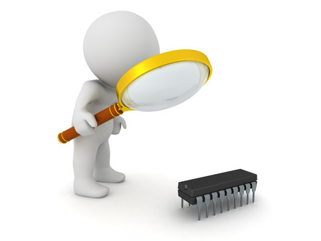 processors: 3D character looking with magnifying glass at a small integrated circuit. Isolated on white background. Stock Photo
