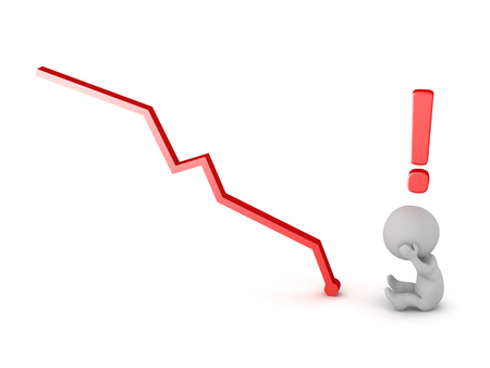 Stressed 3D character with a chart showing losses. Isolated on white background.