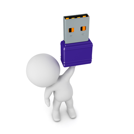 3D character holding up a small USB stick. Isolated on white background.