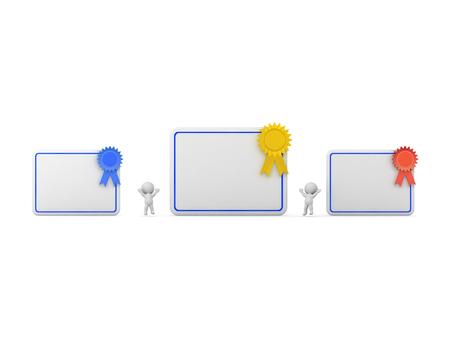Personajes 3D y grandes diplomas con cintas. Aislado en el fondo blanco. Foto de archivo - 83546675