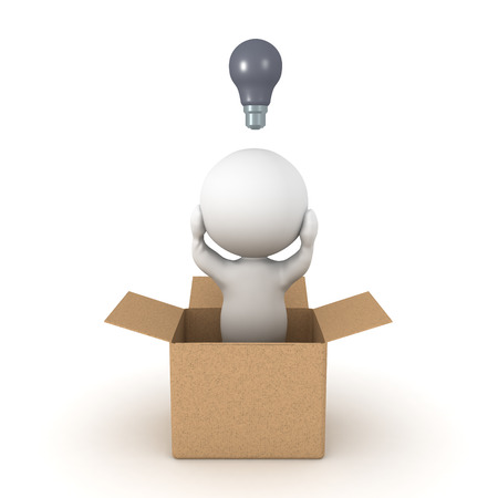 3D Character cant come up with new ideas since hes thinking inside the box. Isolated on white. Stock Photo