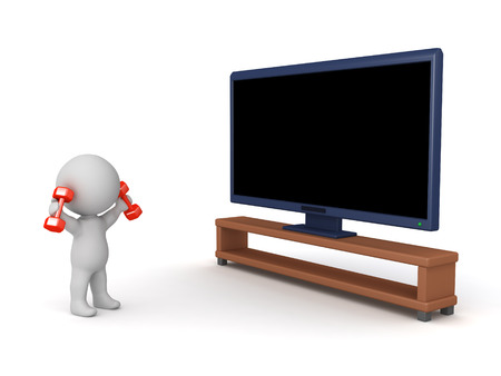 3D character working out with small aerobic weights next to a large HD television. Isolated on white background.
