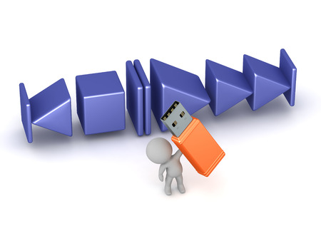 3D character holding a large USB stick, and with large music player buttons. Isolated on white background. Stock Photo