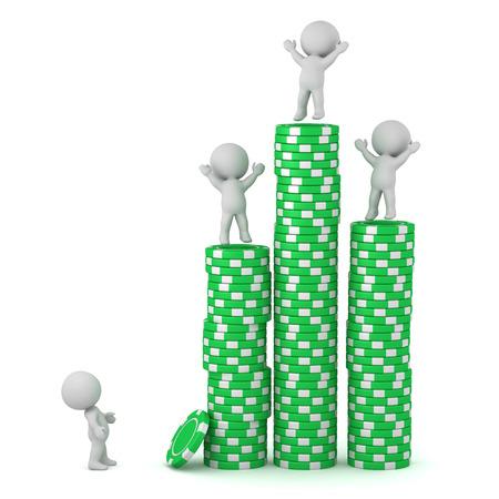 Verschillende 3D-personages met hoge stapels pokerchips. Geïsoleerd op witte achtergrond