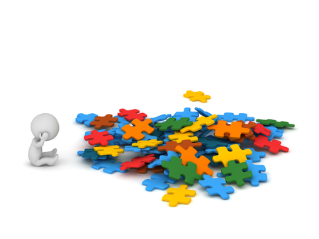 3D character with a pile of colorful puzzle pieces. Isolated on white background.