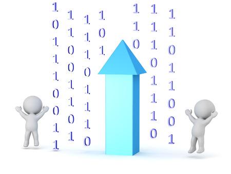 大規模なアップロード矢印といくつかのデータ ビット幸せな 3 D キャラクター。白い背景上に分離。 写真素材