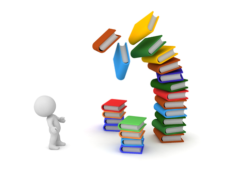 3D character looking up at a large stack of colorful falling books. Isolated on white background. Stock Photo