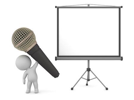 Personaje 3D con un gran micrófono y una pantalla de proyección. Aislado en el fondo blanco.
