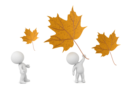 3D characters and large autumn leaves. Isolated on white background. Banco de Imagens