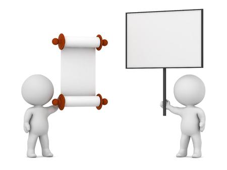 Personaggio 3D che tiene un grande segno di protesta contro un personaggio con un decreto legge di scorrimento. Isolato su sfondo bianco Archivio Fotografico - 83607394