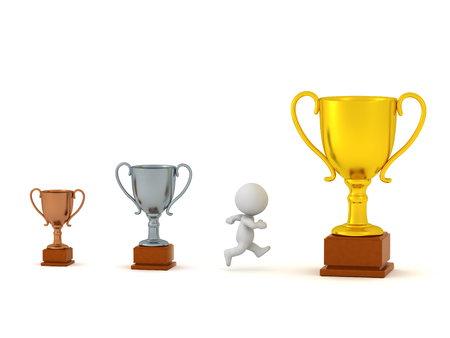 3D character running past small bronze and silver trophies, toward large golden trophy prize. Isolated on white background.