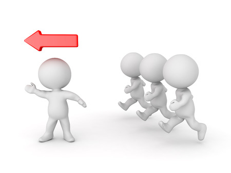 accomplish: 3D Character leading other ones and he has a red arrow above his head. Isolated on white. Stock Photo