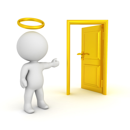 3D illustration of saint with a halo showing an opened door. Isolated on white. Фото со стока
