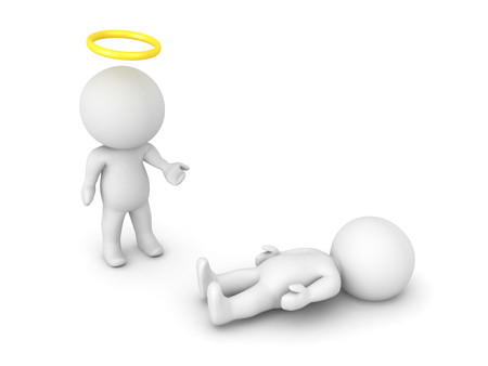 3D illustration of saint or angel next to a person who has passed away. Image relating to spiritual belief.