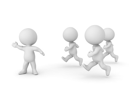 accomplish: 3D Character leading and giving direction to other characters. Isolated on white.