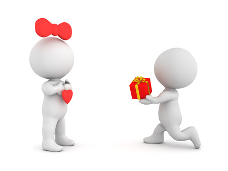 3D Character offering a gift box to his lover. Isolated on white.
