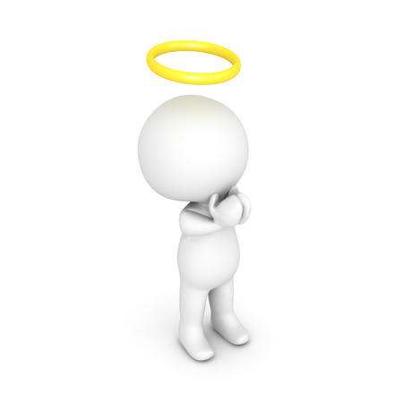 3D illustration of saint or angel praying. Image relating to spiritual belief. Stock Photo