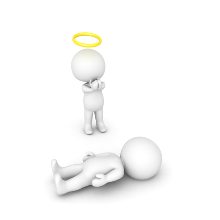 3D illustratie van engel die voor zieke persoon bidt. Afbeelding met betrekking tot geestelijk geloof.