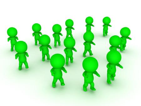 awkward: 3D illustration of green zombie apocalypse. Isolated on white.