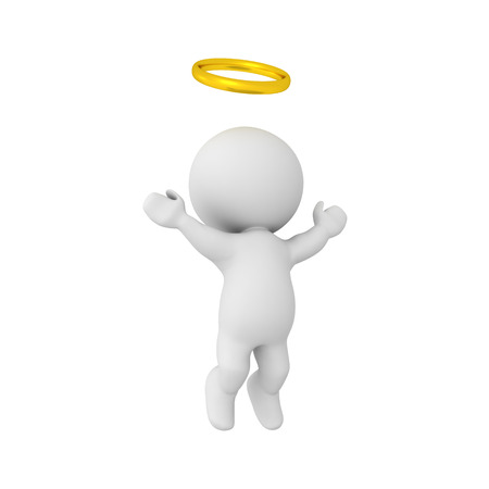 pearly gates: 3D Character with golden halo ascending to heaven. Image depicting the afterlife. Stock Photo