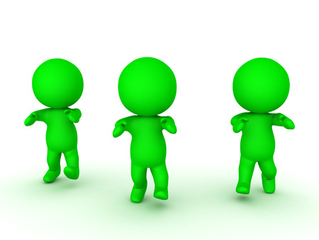 3D illustration of three green zombies walking forward. Isolated on white.