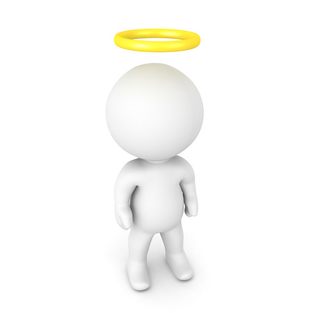 3D Character with a gold halo above his head. Isolated on white.
