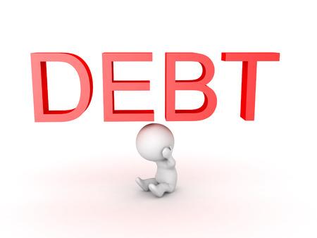 3D-personage wordt benadrukt over schulden. Geïsoleerd op wit. Stockfoto