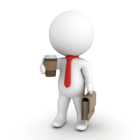 3D Character wearing a red necktie holding a cup of coffee and briefcase. Isolated on white. Stock Photo