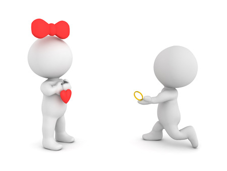 3D Character proposing to his fiance with gold engagement ring. Isolated on white.