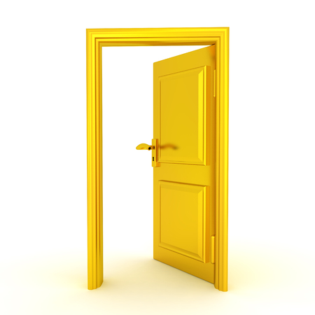 3D illustration of a half opened golden door. Isolated on white.