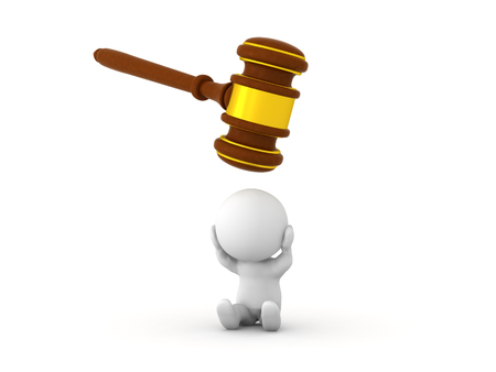 3D Character stressed because giant gavel is about to hit him. Image depicting the concept of being judged.