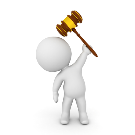 3D Character holding gavel above his head. Isolated on white. Stock Photo