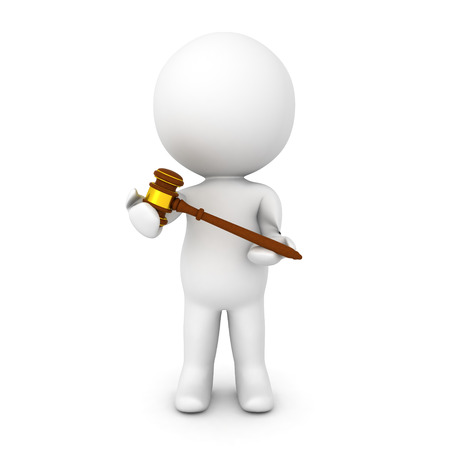 3D Character holding gavel in his hands. Image relating to law practice. Stock Photo