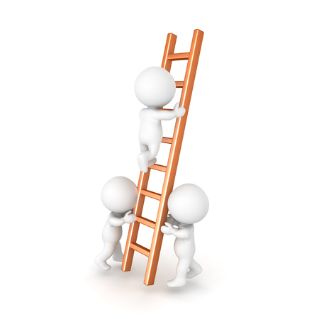 Two 3D Characters holding a ladder in order for one to climb. Isolated on white.
