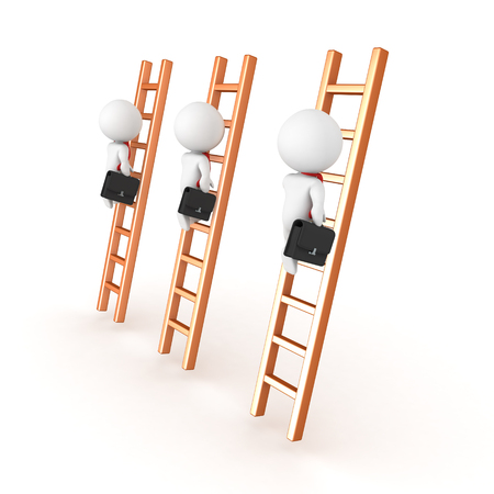 3D depiction of climbing the corporate ladder concept. Isolated on white.