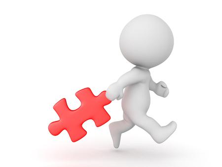 3D-personage sleept achter een rood puzzelstukje. Geïsoleerd op wit.