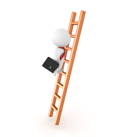 3D Character climbing the corporate ladder. Isolated on white.