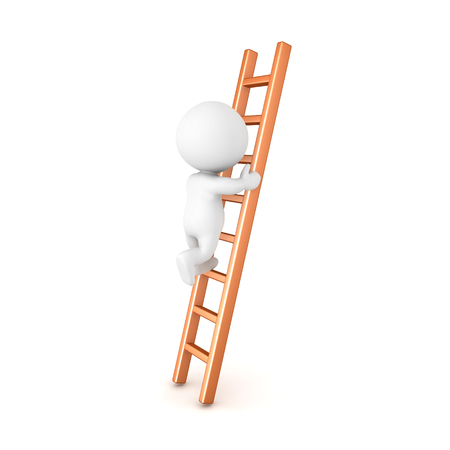 3D Character climbing a ladder. Isolated on white.