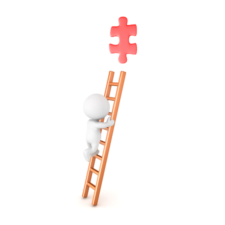 3D Character climbing a ladder and trying to grab a red puzzle piece. Isolated on white.