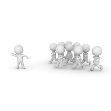 3D Character leading a group of people. Isolated on white.