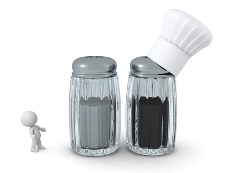 3D character with large salt and pepper shakers. Isolated on white background.