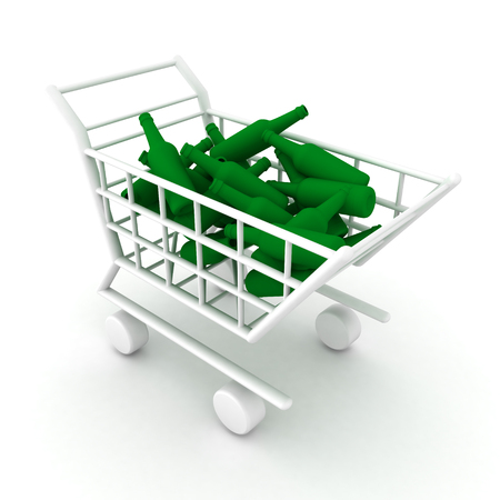 3D illustration of shopping cart filled with alcohol bottles. Isolated on white.