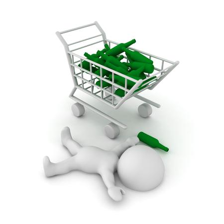 compras compulsivas: Ilustración 3D que representa compras compulsivas y alcoholismo. Aislado en blanco. Foto de archivo