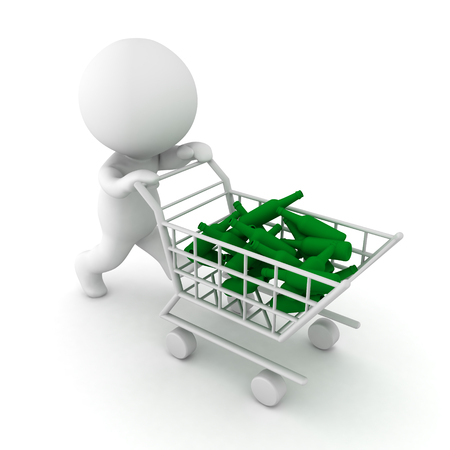 3D Character pushing shopping cart filled with alcoholic drinks. Isolated on white.