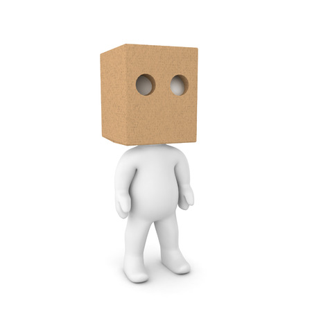3D Character wearing a paper bag over his head. Isolated on white.