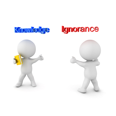 3D illustration depicting the concept of Knowledge versus Ignorance. Isolated on white.