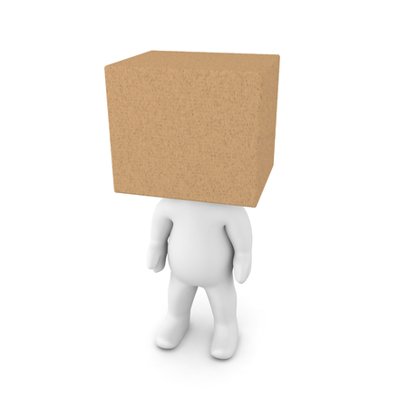 3D Character with a carboard box over his head. Isolated on white.