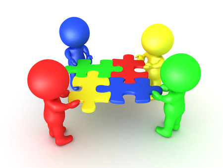 compatibility: 3D Multi colored characters holding puzzle pieces that fit. Image symbolizing teamwork and compatibility.